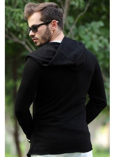 LTC Jeans Kapşonlu Siyah Uzun Erkek Hırka Siyah